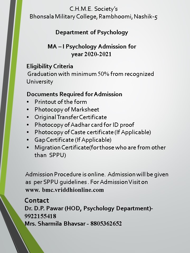 Admissions open for M.A.(